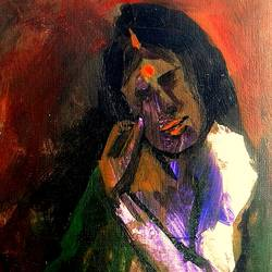 the varanasi lady, 6 x 10 inch, girish chandra vidyaratna,figurative paintings,paintings for living room,paintings,paper,acrylic color,6x10inch,GAL0363195