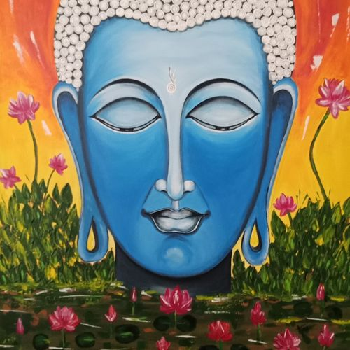 buddha, 36 x 28 inch, anu radha,36x28inch,canvas,paintings,abstract paintings,paintings for living room,paintings for bedroom,paintings for hotel,acrylic color,GAL02033231953