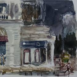 rainy evening near an old british building on mg road, bangalore, 11 x 8 inch, kishan mk,11x8inch,canson paper,paintings,cityscape paintings,paintings for living room,paintings for living room,watercolor,GAL02028631957