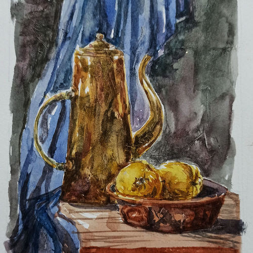 antique teapot and fruits, 8 x 11 inch, kishan mk,8x11inch,canson paper,paintings,still life paintings,paintings for living room,paintings for kitchen,watercolor,GAL02028631958