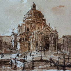venice landscape, 11 x 8 inch, kishan mk,11x8inch,handmade paper,paintings,landscape paintings,paintings for dining room,paintings for living room,paintings for bedroom,watercolor,GAL02028631959