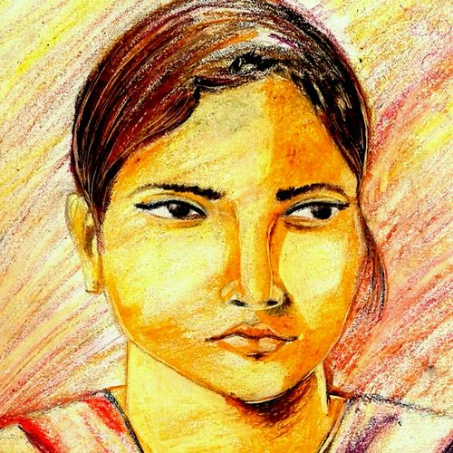 indian beauty, 14 x 10 inch, girish chandra vidyaratna,paintings for living room,drawings,portrait drawings,paper,pastel color,14x10inch,GAL0363196