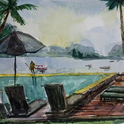 bali resort view, 16 x 11 inch, kishan mk,16x11inch,handmade paper,paintings,landscape paintings,nature paintings | scenery paintings,paintings for dining room,paintings for living room,paintings for bedroom,watercolor,GAL02028631960