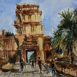 cambodia treasure, 16 x 11 inch, kishan mk,16x11inch,handmade paper,paintings,landscape paintings,paintings for dining room,paintings for living room,paintings for bedroom,paintings for bathroom,paintings for hotel,paintings for kitchen,paintings for hospital,watercolor,GAL02028631962