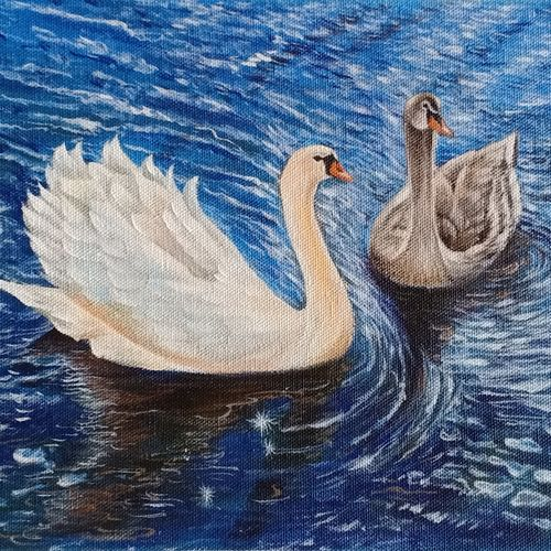 swan, 14 x 9 inch, kumar ranadive,14x9inch,canvas,figurative paintings,paintings for living room,paintings for living room,acrylic color,GAL01956931970
