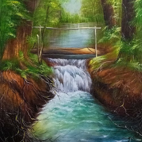 forest, 15 x 20 inch, kumar ranadive,15x20inch,canvas,paintings,landscape paintings,paintings for living room,acrylic color,GAL01956931971