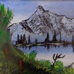 snow mountain, 24 x 16 inch, tejal bhagat,24x16inch,canvas,paintings,landscape paintings,conceptual paintings,nature paintings | scenery paintings,expressionism paintings,impressionist paintings,paintings for dining room,paintings for living room,paintings for bedroom,paintings for office,paintings for hotel,paintings for hospital,acrylic color,GAL02041531976