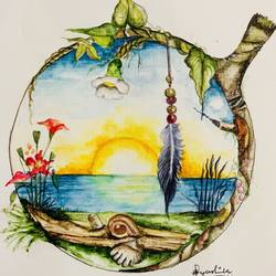 sunset through a magnifying glass , 9 x 11 inch, ayushika  agarwal ,9x11inch,thick paper,paintings,nature paintings | scenery paintings,watercolor,GAL02042531980