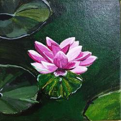 a bloom in the mud, 6 x 6 inch, neha  gupta,6x6inch,canvas,paintings,flower paintings,still life paintings,acrylic color,GAL02043231981