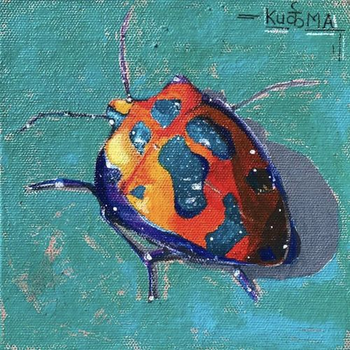 beetles in my garden , 6 x 6 inch, neha  gupta,6x6inch,canvas,paintings,wildlife paintings,flower paintings,modern art paintings,conceptual paintings,still life paintings,nature paintings | scenery paintings,photorealism paintings,animal paintings,realistic paintings,love paintings,paintings for dining room,paintings for living room,paintings for bedroom,paintings for office,paintings for bathroom,paintings for kids room,paintings for hotel,paintings for kitchen,paintings for school,paintings for hospital,acrylic color,GAL02043231983