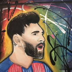 messi, 14 x 12 inch, harvallav kaur brar,14x12inch,canvas,love paintings,phad painting,acrylic color,GAL01994231985