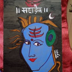 lord shiva, 12 x 16 inch, jyoti rajpal,12x16inch,wood board,paintings,religious paintings,wood,GAL02022431986