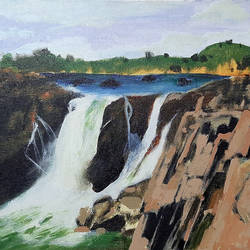 rocky waterfall, 16 x 12 inch, tejal bhagat,16x12inch,canvas,paintings,landscape paintings,nature paintings | scenery paintings,expressionism paintings,impressionist paintings,photorealism paintings,contemporary paintings,paintings for dining room,paintings for living room,paintings for bedroom,paintings for office,paintings for bathroom,paintings for hotel,paintings for kitchen,paintings for school,paintings for hospital,acrylic color,GAL02041531994