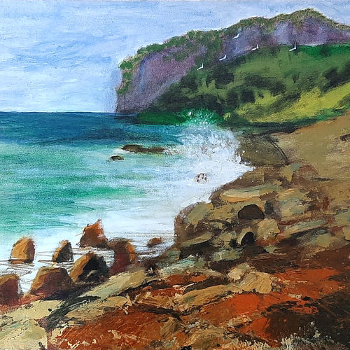 rocky shore, 20 x 16 inch, tejal bhagat,20x16inch,canvas,paintings,landscape paintings,nature paintings | scenery paintings,expressionism paintings,impressionist paintings,photorealism paintings,photorealism,realism paintings,surrealism paintings,contemporary paintings,realistic paintings,paintings for dining room,paintings for living room,paintings for bedroom,paintings for office,paintings for bathroom,paintings for hotel,paintings for kitchen,paintings for school,paintings for hospital,acrylic color,GAL02041531995