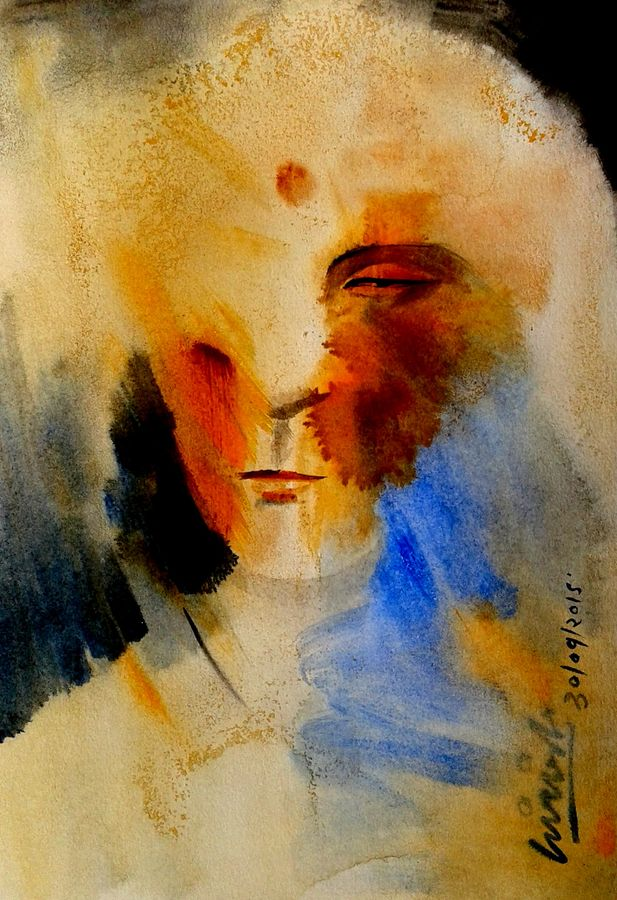 meditation, 7 x 11 inch, girish chandra vidyaratna,abstract paintings,paintings for dining room,paintings for living room,paintings for bedroom,paintings for office,paintings for bathroom,paintings for kids room,paintings for hotel,paintings for kitchen,paper,watercolor,7x11inch,GAL0363200