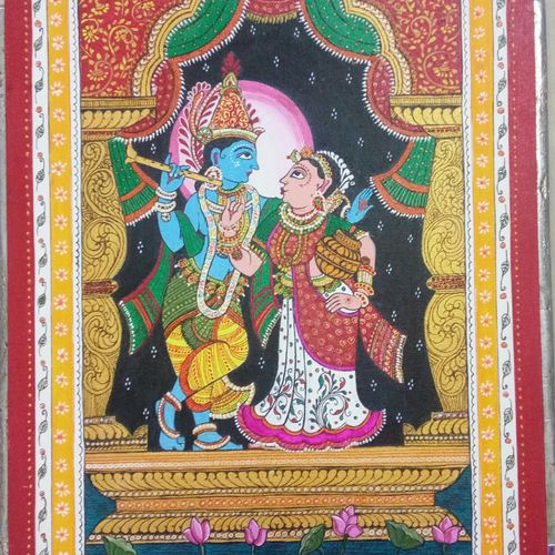 radha krishna, 14 x 16 inch, deepti agrawal,14x16inch,canvas board,paintings,conceptual paintings,religious paintings,radha krishna paintings,contemporary paintings,love paintings,phad painting,paintings for living room,paintings for bedroom,paintings for hotel,acrylic color,GAL0596832004