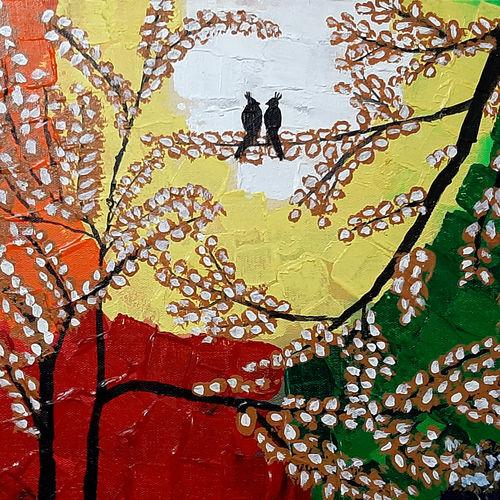 the love birds, 16 x 12 inch, tejal bhagat,16x12inch,canvas board,paintings,landscape paintings,conceptual paintings,nature paintings | scenery paintings,expressionism paintings,impressionist paintings,animal paintings,love paintings,kids paintings,paintings for dining room,paintings for living room,paintings for bedroom,paintings for office,paintings for bathroom,paintings for kids room,paintings for hotel,paintings for kitchen,paintings for school,paintings for hospital,acrylic color,GAL02041532034
