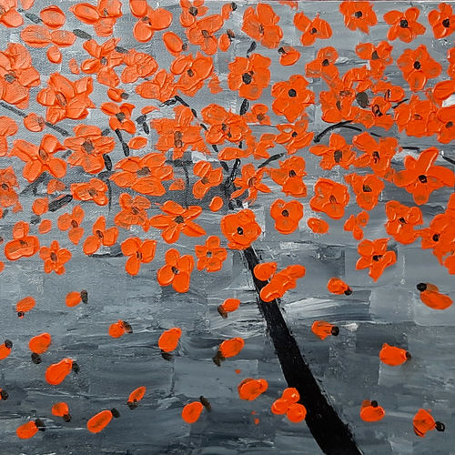 the orange flowers, 16 x 12 inch, tejal bhagat,16x12inch,canvas board,paintings,abstract paintings,flower paintings,conceptual paintings,nature paintings | scenery paintings,abstract expressionism paintings,expressionism paintings,illustration paintings,impressionist paintings,love paintings,paintings for dining room,paintings for living room,paintings for bedroom,paintings for office,paintings for bathroom,paintings for kids room,paintings for hotel,paintings for kitchen,paintings for school,paintings for hospital,acrylic color,GAL02041532036
