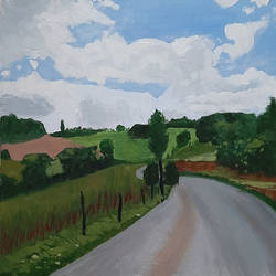 the road, 18 x 18 inch, tejal bhagat,18x18inch,canvas,paintings,cityscape paintings,landscape paintings,nature paintings | scenery paintings,expressionism paintings,impressionist paintings,realism paintings,realistic paintings,paintings for dining room,paintings for living room,paintings for bedroom,paintings for office,paintings for hotel,paintings for kitchen,paintings for hospital,acrylic color,GAL02041532038