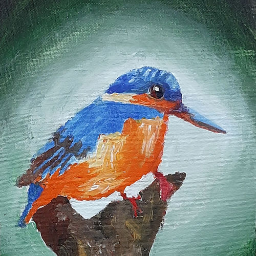 kingfisher, 6 x 8 inch, tejal bhagat,6x8inch,canvas board,paintings,wildlife paintings,nature paintings   scenery paintings,expressionism paintings,impressionist paintings,photorealism paintings,photorealism,realism paintings,animal paintings,realistic paintings,love paintings,paintings for dining room,paintings for living room,paintings for bedroom,paintings for office,paintings for bathroom,paintings for kids room,paintings for hotel,paintings for kitchen,paintings for school,paintings for hospital,acrylic color,GAL02041532040