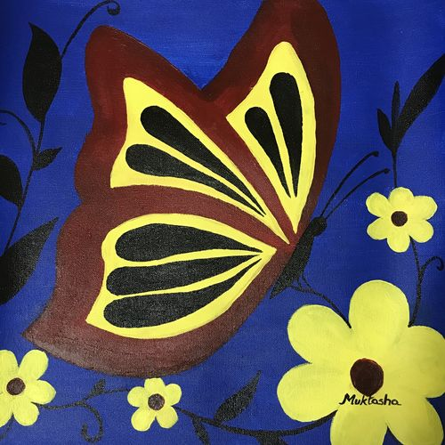 beautiful butterfly between flowers, 16 x 16 inch, muktasha maji,16x16inch,canvas,paintings,flower paintings,nature paintings   scenery paintings,paintings for dining room,paintings for bedroom,paintings for office,paintings for kids room,paintings for hotel,paintings for school,acrylic color,GAL02046132045