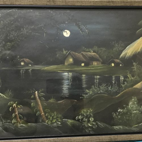 night beauty of a riverside village , 22 x 12 inch, muktasha maji,22x12inch,oil sheet,paintings,landscape paintings,nature paintings | scenery paintings,paintings for dining room,paintings for living room,paintings for bedroom,paintings for office,paintings for kids room,paintings for hotel,paintings for school,paintings for hospital,oil color,GAL02046132049