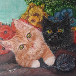 a ginger & a black kitten, 8 x 10 inch, rambling tiger,photorealism paintings,paintings for living room,canvas,oil paint,8x10inch,GAL08863205