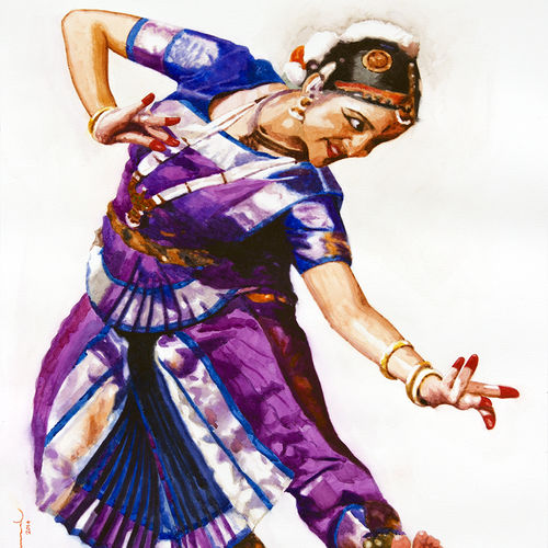 classical dancer 05, 20 x 25 inch, jeyaprakash m,figurative paintings,paintings for bedroom,canson paper,watercolor,20x25inch,GAL011023206