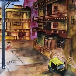 my neighbourhood , 12 x 17 inch, nithya  nair,12x17inch,paper,paintings,cityscape paintings,paintings for dining room,paintings for living room,paintings for bedroom,paintings for office,watercolor,GAL02045732060