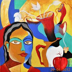 composition-7, 20 x 20 inch, rajeev sarkar,20x20inch,canvas,paintings,abstract paintings,acrylic color,GAL02046732064