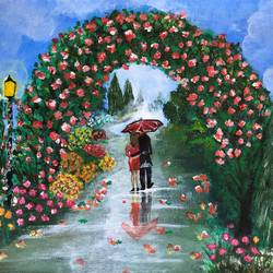 lovers lane , 16 x 12 inch, deepti singhal,16x12inch,canvas,flower paintings,nature paintings | scenery paintings,love paintings,paintings for living room,paintings for bedroom,paintings for living room,paintings for bedroom,acrylic color,GAL02048332067