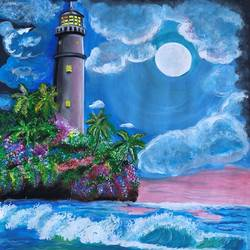 moonlite lighthouse, 11 x 14 inch, deepti singhal,11x14inch,paper,paintings,nature paintings | scenery paintings,paintings for dining room,paintings for living room,paintings for bedroom,paintings for office,paintings for hotel,acrylic color,mixed media,watercolor,GAL02048332068