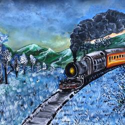 the snowy train, 14 x 11 inch, deepti singhal,14x11inch,cartridge paper,nature paintings | scenery paintings,paintings for dining room,paintings for living room,paintings for bedroom,paintings for hotel,paintings for dining room,paintings for living room,paintings for bedroom,paintings for hotel,acrylic color,GAL02048332070