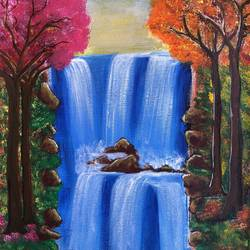 the waterfall, 12 x 16 inch, deepti singhal,12x16inch,canvas,paintings,landscape paintings,nature paintings | scenery paintings,paintings for dining room,paintings for living room,paintings for bedroom,paintings for office,paintings for hotel,acrylic color,mixed media,poster color,GAL02048332071