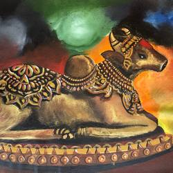 nandi, 16 x 12 inch, deepti singhal,16x12inch,canvas,paintings,religious paintings,animal paintings,acrylic color,mixed media,oil color,GAL02048332072