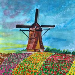 the tulip windmill, 11 x 14 inch, deepti singhal,11x14inch,cartridge paper,flower paintings,landscape paintings,nature paintings | scenery paintings,poster color,GAL02048332075