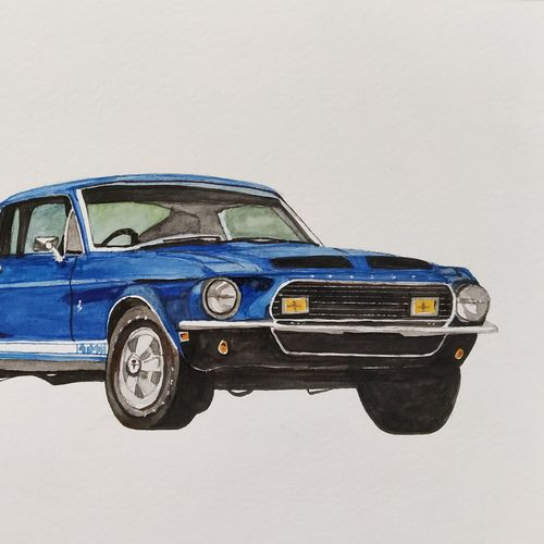ford mustang gt 350 blue, 10 x 6 inch, lalit  r,10x6inch,thick paper,still life paintings,watercolor,GAL0482832076
