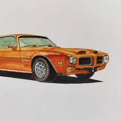 1971 pontiac firebird, 10 x 6 inch, lalit  r,10x6inch,thick paper,paintings,still life paintings,watercolor,GAL0482832078
