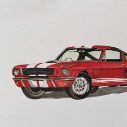 ford mustang gt 350 red, 10 x 6 inch, lalit  r,10x6inch,thick paper,paintings,still life paintings,paintings for living room,paintings for bedroom,paintings for office,watercolor,GAL0482832079
