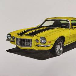 chevy camero, 10 x 6 inch, lalit  r,10x6inch,thick paper,paintings,still life paintings,paintings for living room,paintings for bedroom,paintings for office,paintings for kids room,watercolor,GAL0482832080