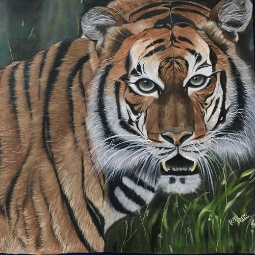 tiger painting, 37 x 25 inch, ila  singh,37x25inch,canvas,paintings,wildlife paintings,landscape paintings,conceptual paintings,nature paintings | scenery paintings,expressionism paintings,illustration paintings,impressionist paintings,photorealism paintings,photorealism,realism paintings,animal paintings,realistic paintings,paintings for dining room,paintings for living room,paintings for bedroom,paintings for office,paintings for kids room,paintings for hotel,paintings for school,paintings for hospital,oil color,GAL0795932082