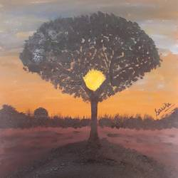 sunset tree, 12 x 16 inch, sarika nathani,12x16inch,canvas,nature paintings | scenery paintings,acrylic color,GAL02047332083