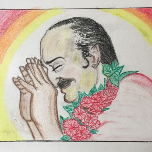 meher baba, 8 x 7 inch, p sisira,abstract drawings,paintings for living room,thick paper,pencil color,8x7inch,GAL011603209