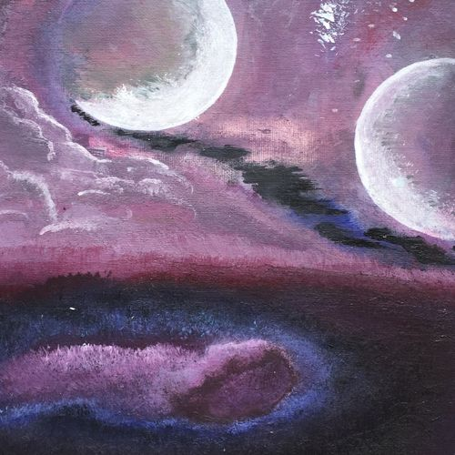 2 face moon, 12 x 12 inch, beverly  dsouza ,landscape paintings,paintings for office,canvas,acrylic color,12x12inch,GAL0129321