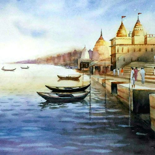 benaras ghat, 21 x 14 inch, sutapa paul,21x14inch,fabriano sheet,paintings,cityscape paintings,landscape paintings,religious paintings,nature paintings | scenery paintings,illustration paintings,impressionist paintings,minimalist paintings,photorealism paintings,surrealism paintings,contemporary paintings,miniature painting.,paintings for dining room,paintings for living room,paintings for bedroom,paintings for office,paintings for hotel,watercolor,GAL01798832103
