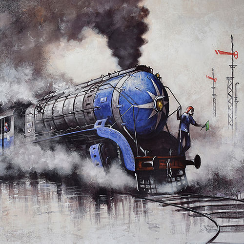 nostalgia of steam locomotives 47, 60 x 36 inch, kishore pratim biswas,60x36inch,canvas,landscape paintings,impressionist paintings,street art,contemporary paintings,paintings for dining room,paintings for living room,paintings for hotel,paintings for school,paintings for dining room,paintings for living room,paintings for hotel,paintings for school,acrylic color,GAL0106032107