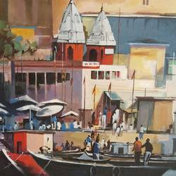 ghat 5, 24 x 24 inch, chetna bernela,24x24inch,canvas,paintings,religious paintings,paintings for dining room,paintings for living room,paintings for kids room,paintings for hotel,acrylic color,GAL0784532108