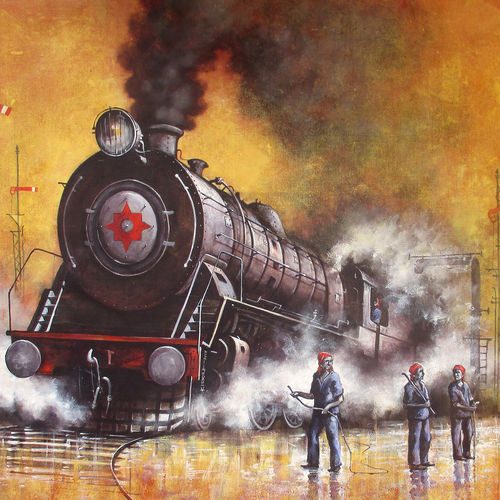 nostalgia of steam locomotives 35, 57 x 38 inch, kishore pratim biswas,57x38inch,canvas,paintings,landscape paintings,conceptual paintings,impressionist paintings,paintings for dining room,paintings for living room,paintings for office,paintings for hotel,paintings for school,paintings for dining room,paintings for living room,paintings for office,paintings for hotel,paintings for school,acrylic color,GAL0106032109