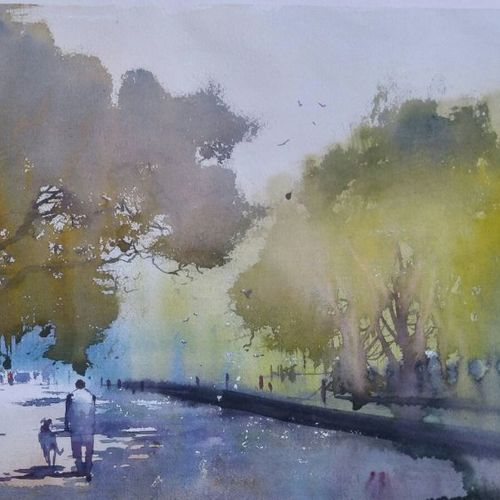 morning walk, 19 x 14 inch, bijay  biswaal,cityscape paintings,nature paintings,paintings for living room,paper,watercolor,19x14inch,GAL011743211Nature,environment,Beauty,scenery,greenery,sunrise,trees,people