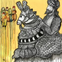 khatputli, 36 x 36 inch, mrinal  dutt,36x36inch,canvas,paintings,figurative paintings,folk art paintings,contemporary paintings,paintings for dining room,paintings for living room,paintings for bedroom,paintings for office,paintings for bathroom,paintings for kids room,paintings for hotel,paintings for kitchen,paintings for school,paintings for hospital,acrylic color,mixed media,GAL01311732112